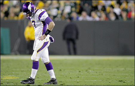 Christian Ponder reacts after throwing an incomplete pass in the second half.