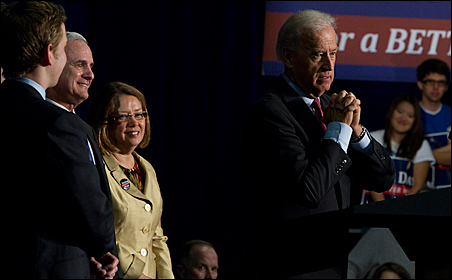 Vice President Joe Biden defended administration policies and stumped for Mark Dayton at this morning's rally.