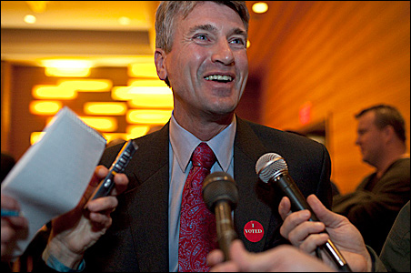 A triumphant -- and coy -- R.T. Rybak met the media Tuesday night after rolling to re-election as mayor of Minneapolis.
