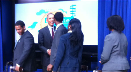 Hashim Yonis meets President Obama at Thursday's meeting about youth employment.