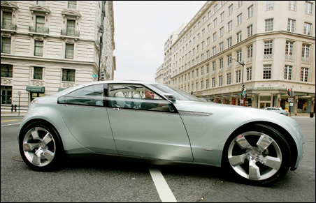 The concept Chevrolet Volt automobile is driven on the streets of Washington.