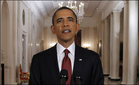 President Barack Obama announcing live on television the death of Osama bin Laden from the East Room of the White House on Sunday.