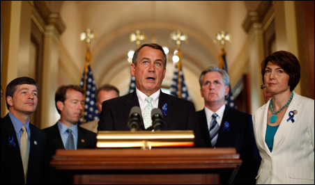 House Speaker John Boehner, pictured alongside other Republicans, speaking to the press about U.S. debt reduction on Monday.