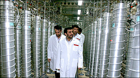 Iranian President Mahmoud Ahmadinejad on an April visit to the Natanz nuclear enrichment facility.