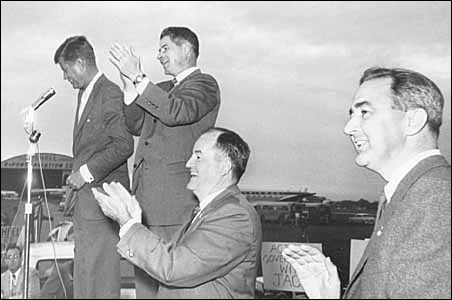 John F. Kennedy in 1960 with, left to right, Orville Freeman, Hubert Humphrey and Eugene McCarthy.