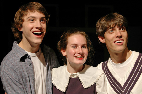 "Nate Irvin, right, and actors Lauren Bartelt and Ryan McCartan from Minnetonka Senior High's award-winning production of ""Blood Brothers."""