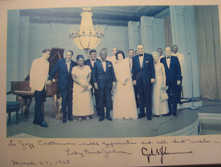 Jeff Castleman is in the white jacket, far left. This photo was taken at the White House March 27, 1968.