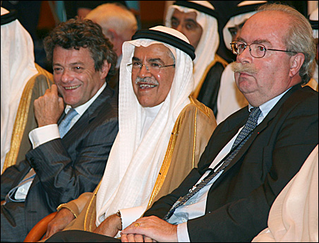 Saudi Arabian's Oil Minister Ali al-Naimi, center, France's Minister of Ecology, Sustainable Development and Town and Country Planning Jean-Louis Borloo, left, and Total Chief Executive Christophe De Margerie at a news conference in Jeddah Sunday.