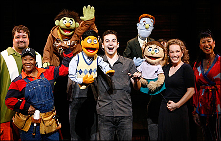 """The motley cast and crew from """"Avenue Q."""""""