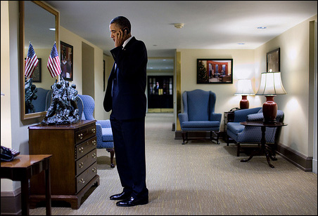 President Barack Obama talks with Arizona Gov. Jan Brewer concerning the shooting of Rep. Gabrielle Giffords and others, outside the Situation Room of the White House.