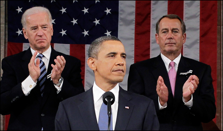 President Obama delivers his State of the Union address on Capitol Hill in Washington on Tuesday.