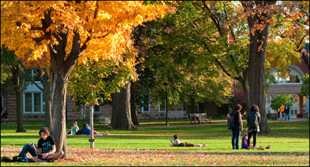 The Macalester campus looking like a highlight of the fall colors campus tour