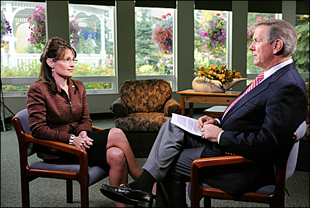 "Sarah Palin dodged some questions by Charles Gibons, who at times displayed the ""annoyed tone of a university president who agrees to interview the daughter of a trustee, but doesn't believe she merits admission."""
