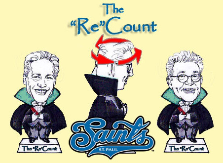 """The Saints noted the lengthy Coleman-Franken contest with a two-faced Count Von """"Re""""Count swivel-head doll."""
