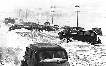 Cars stuck in snow following the Armistice Day blizzard, 1940