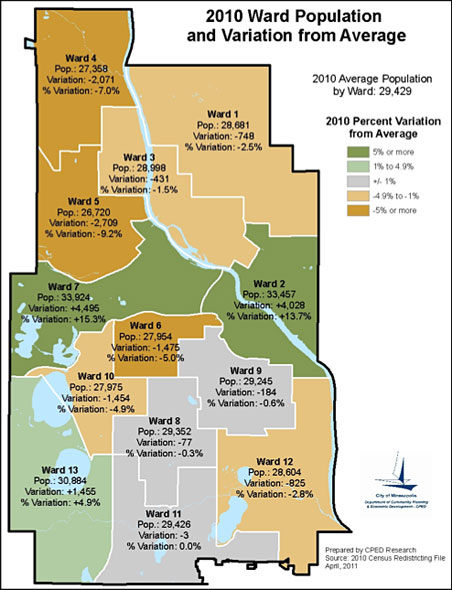 The goal of redistricting is to realign the boundaries so that each ward has 29,429 residents, plus or minus 5 percent.