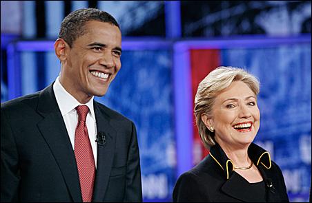 Barack Obama and Hillary Rodham Clinton at a debate at University of Texas.