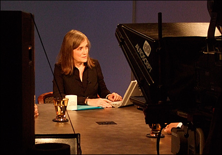Goodman while taping her show Tuesday morning at the SPNN studios in St. Paul.