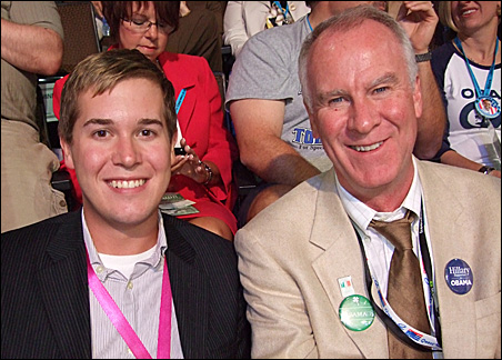 Clinton supporters Charles Carlson, left, and Patrick Coleman end up casting opposing votes.