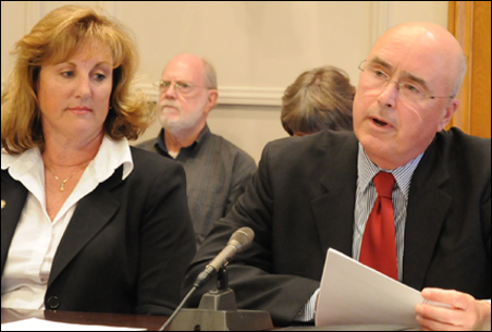 """Attorney Fritz Knaak, right, unsuccessfully urged the committee to refrain from acting like Orwell's """"Thought Police"""" in regard to Sen. Gretchen Hoffman's tweet."""