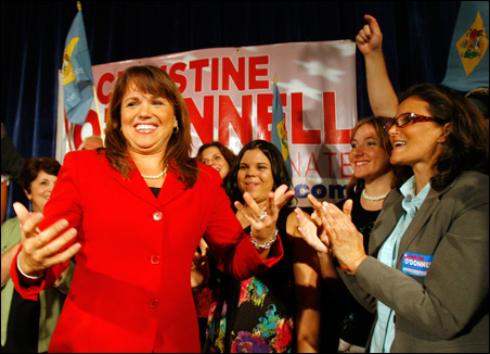 Christine O'Donnell celebrates her win in the Republican primary at her campaign victory event in Dover, Delaware on Tuesday.