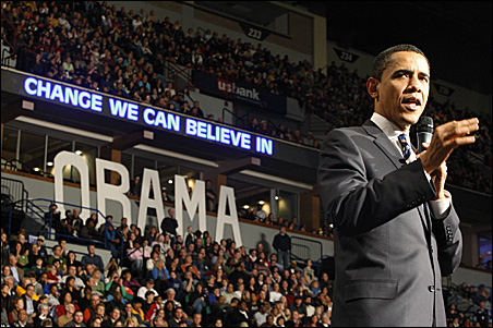 Barack Obama speaking on Feb. 2, 2008, at the Target Center in Minneapolis.