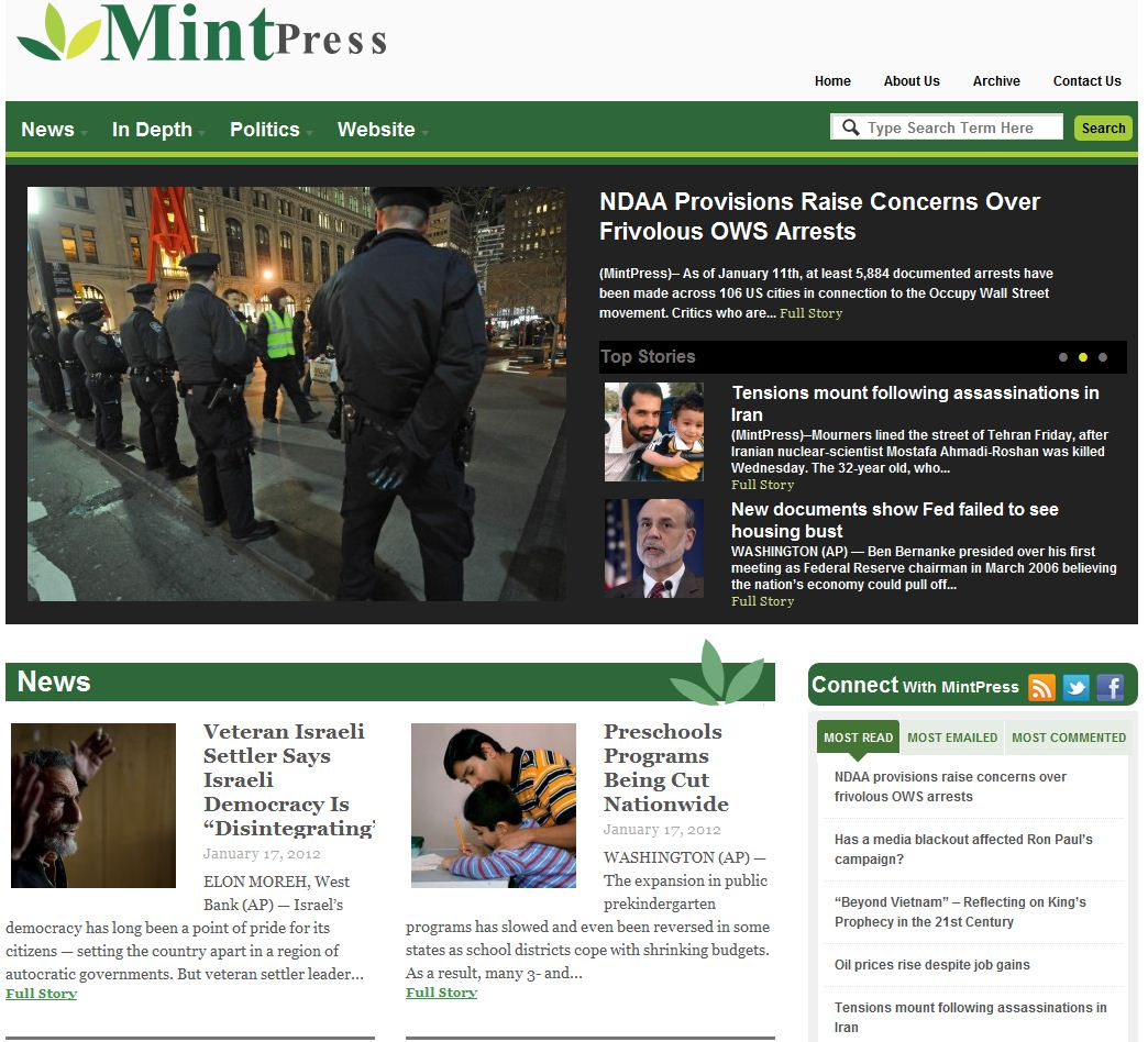 A recent MintPress home page