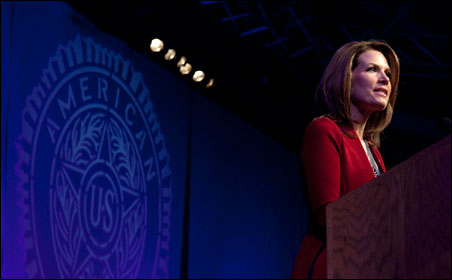 Michele Bachmann spoke Thursday to the American Legion, comparing herself to such past conservative leaders as Margaret Thatcher and Ronald Reagan.