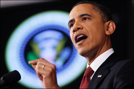 U.S. President Barack Obama speaks about the conflict in Libya during an address at the National Defense University in Washington.