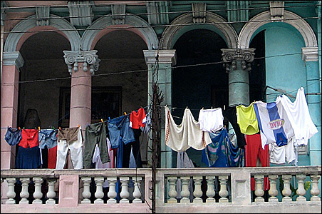 Many properties would look abandoned if not for laundry drying on lines.