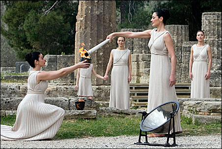 The Beijing Games' Olympic torch, shown at lighting ceremonies last month at the site of ancient Olympia in Greece, already is sparking protests over China's political policies during the early days of its traditional relay.