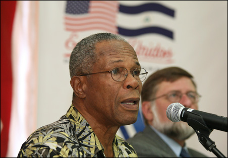 Hall of Famer and former Twin Rod Carew speaks during an April news conference in Managua, where he took part in a baseball youth workshop.