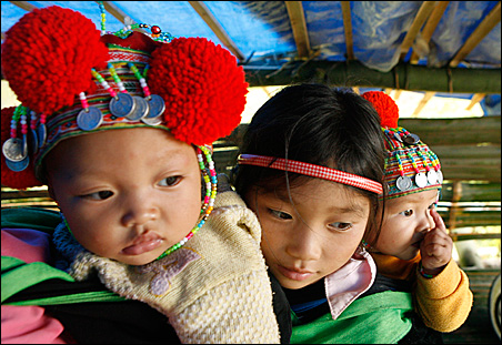 Ethnic Dao children from Vietnam's northern Bac Kan province.