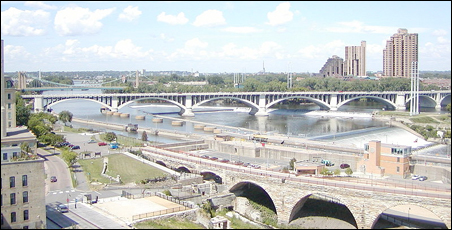 A view of the Mississippi River in Minneapolis, circa 2004.
