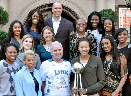 Gov. Dayton hosted the team for breakfast at the governor's residence on Summit Avenue Tuesday morning.