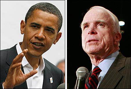 Sens. Barack Obama and John McCain on the campaign trail.