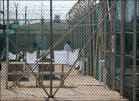 """An unidentified detainee at the """"Camp Four"""" detention facility at Guantanamo Bay last year."""