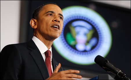 President Barack Obama spoke about the conflict in Libya at the National Defense University on Monday.