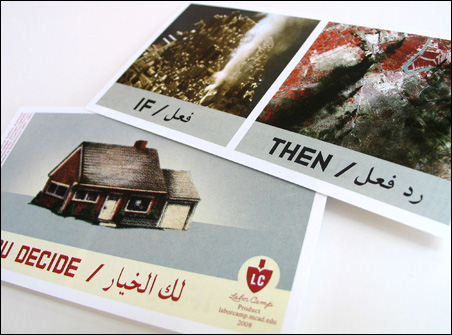 The Arabic on Szyhalski's leaflets is lifted directly from the original PSYOPS leaflets.