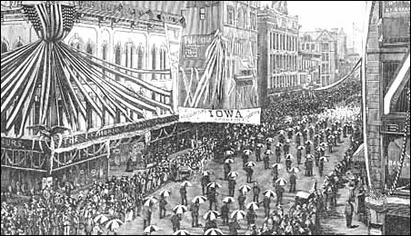 The arrival of the Republican National Convention delegates as they marched up Nicollet Avenue toward the West Hotel, Minneapolis, 1892