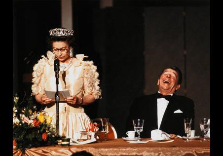 Diana Walker (American, born 1942), Court Jester (Queen Elizabeth II and Ronald Reagan, San Francisco), 1983.