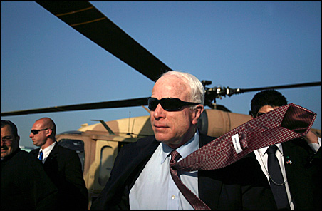 Sen. John McCain arrives last week in the southern Israeli town of Sderot.
