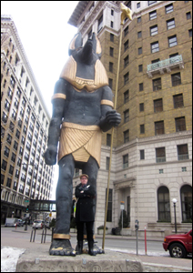 Max Sparber with Anubis statue