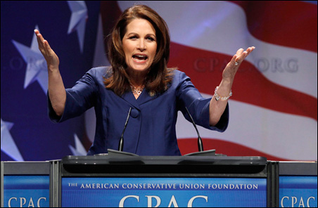 Rep. Michele Bachmann addressed the 38th annual CPAC meeting at the Marriott Wardman Park Hotel in Washington on Thursday.