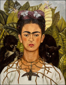 Self-Portrait With Thorn Necklace and Hummingbird