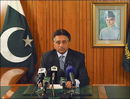 President Pervez Musharraf announces his resignation on television.