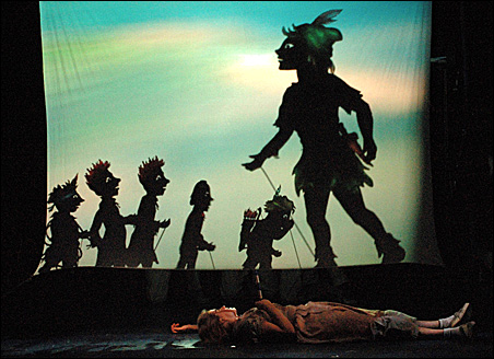 "The Children's Theatre Company's ""Peter Pan"" involves direction from Douglas Irvine of Scotland's Visible Fictions and shadow puppets created by Italian designer Fabrizio Montecchi of Teatro Gioca Vita, Italy."