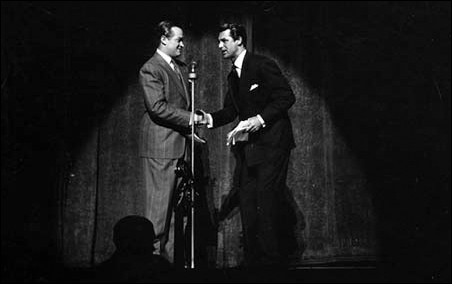 Bob Hope and Cary Grant in the Army-Navy Relief Show at the Minneapolis Auditorium in 1942.