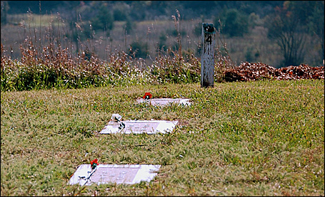 Decorated graves in the cemetery at the old Hastings state hospital.
