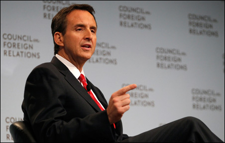 Pawlenty during the Q&A session at the Council on Foreign Relations.